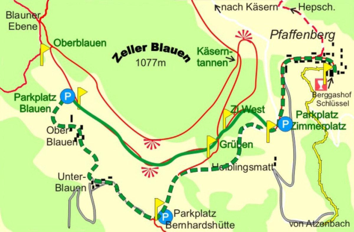 Wanderrouten Pfaffenberg Zell im Wiesental