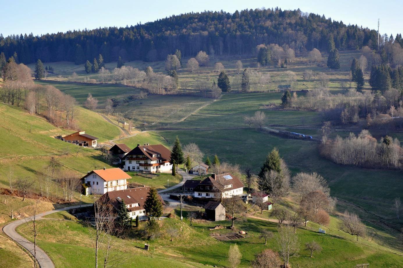"""Der Weiler """"Käsern"""" 900 m ü.M., hoch oben unter dem Bubshorn"""