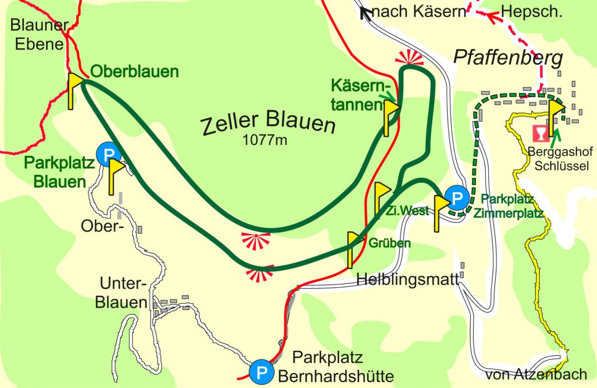 Karte Panoramaweg am Südhang des Zeller Blauen