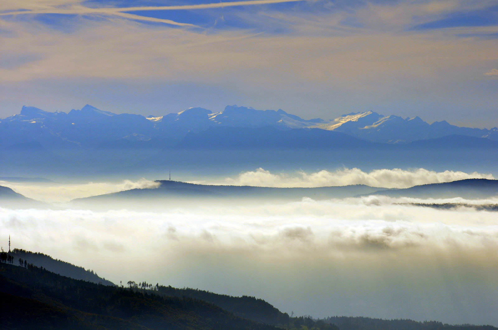 Herrlicher Ausblick vom Käserer Tannenrundweg in die Berner Alpen