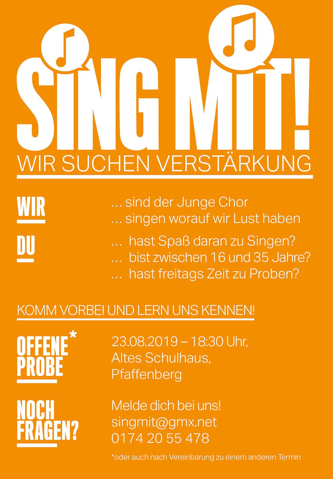 Sing mit im jungen Chor Pfaffenberg